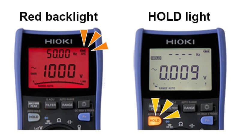 日置電デジタルマルチメータDT4261 赤色に光って警告画像